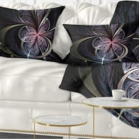 Designart 'Dark Blue Fractal Butterfly Flower' Floral Throw Pillow
