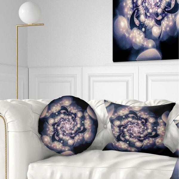 Designart 'Black White Fractal Flower in Dark' Floral Throw Pillow