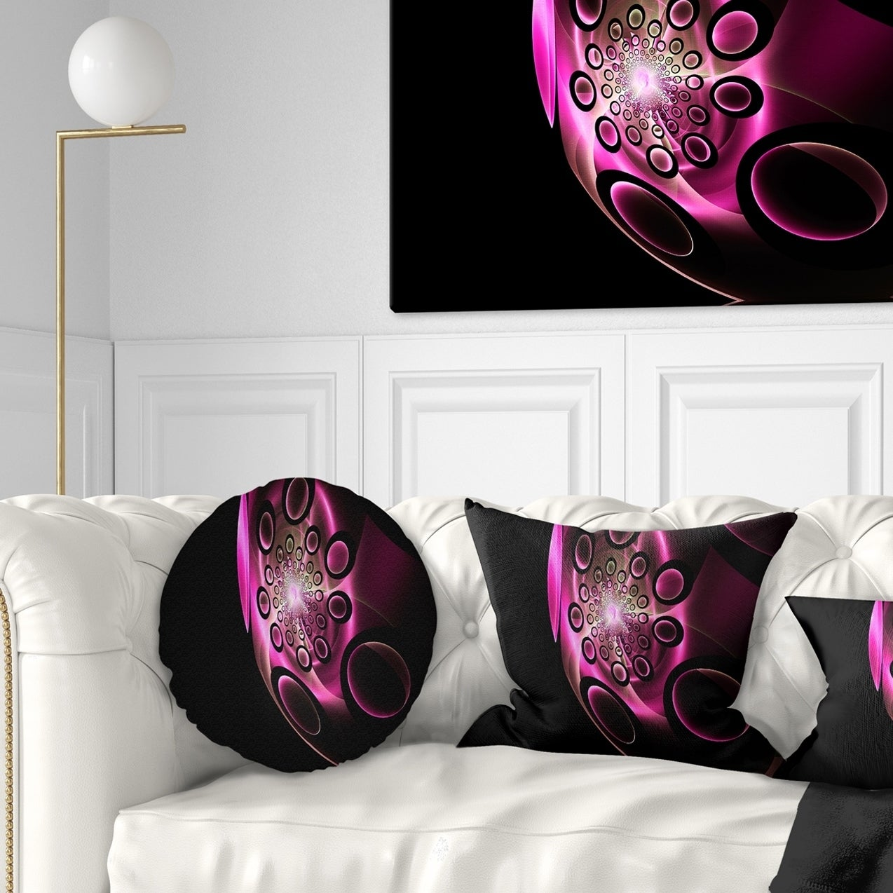 Shop Designart Purple Fractal Sphere In Dark Floral Throw Pillow On Sale Overstock 20946109