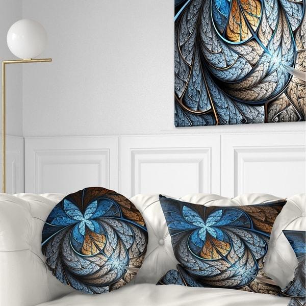 Designart 'Blue Brown Fractal Flower Pattern' Floral Throw Pillow