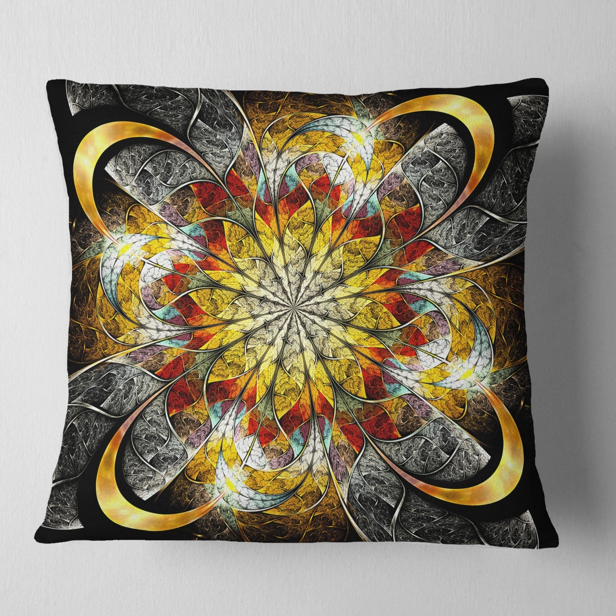 Insert Printed On Both Side Sofa Throw Pillow 12 In Designart Cu8892 12 20 Symmetrical Golden Flower Floral Lumbar Cushion Cover For Living Room X 20 In In Home Décor Home Kitchen