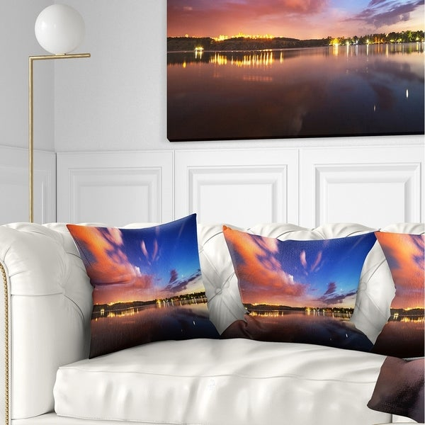 Designart 'Delighted Reflection in River' Landscape Photography Throw Pillow