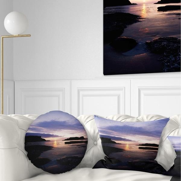 Designart 'White park Bay' Beach Photography Throw Pillow