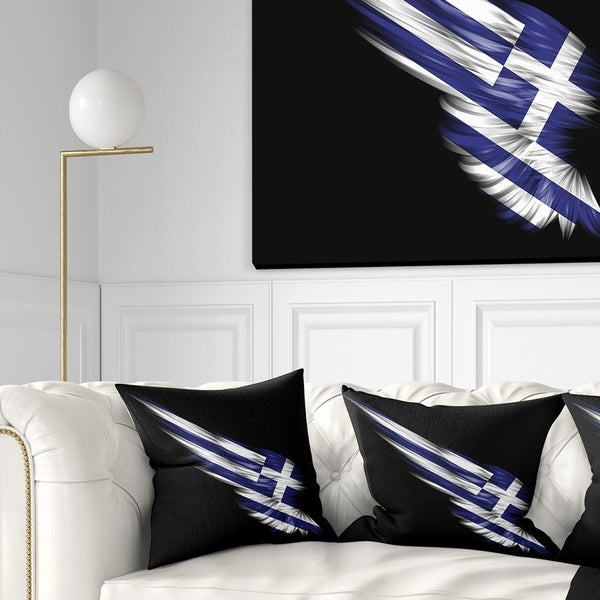 Designart 'Wing with Greece Flag' Abstract Throw Pillow