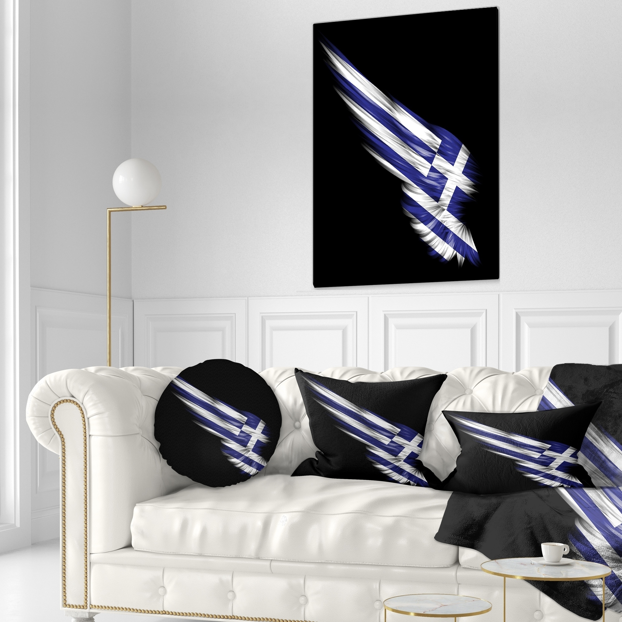 Designart Wing With Greece Flag Abstract Throw Pillow On Sale Overstock 20946175