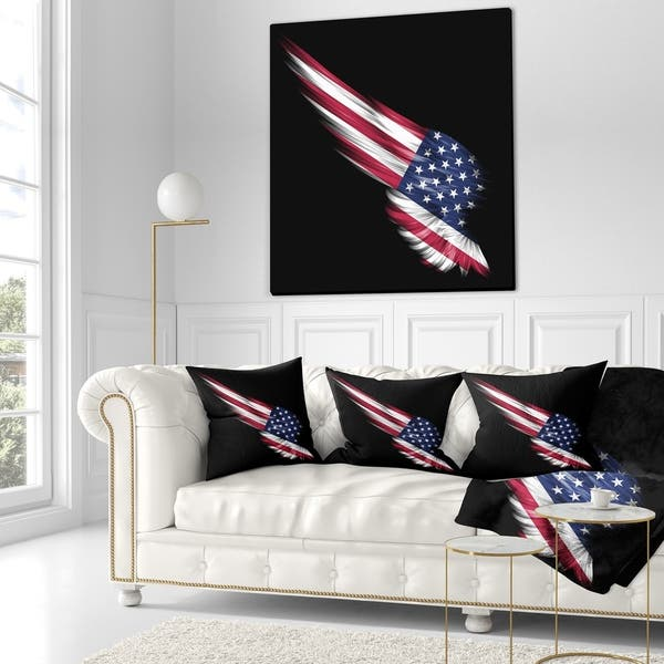 Designart Wing With American Flag Abstract Throw Pillow On Sale Overstock 20946187