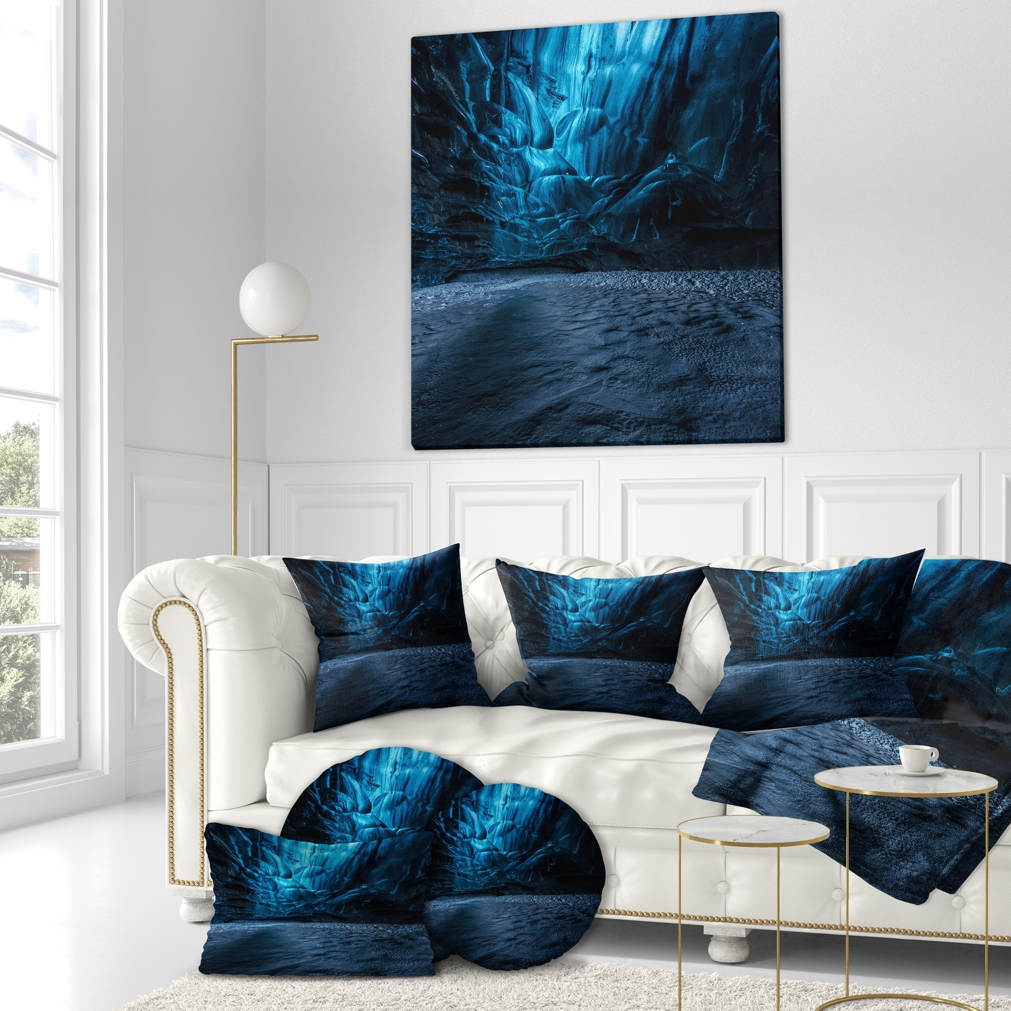 Designart Beautiful Ice Cave In Iceland Landscape Photography Throw Pillow On Sale Overstock 20946228