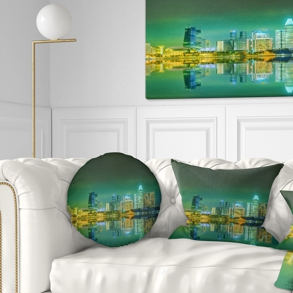 Designart 'Singapore View from Marina Bay' Skyline Photo Throw Pillow