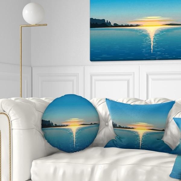 Designart 'Sea Sinking Sun' Seascape Throw Pillow