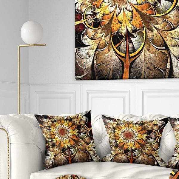 Designart 'Fractal Flower Dark Yellow' Floral Throw Pillow