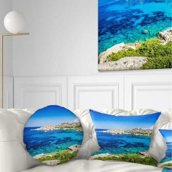 Designart 'Ocean Bay with Turquoise Water' Seascape Throw Pillow