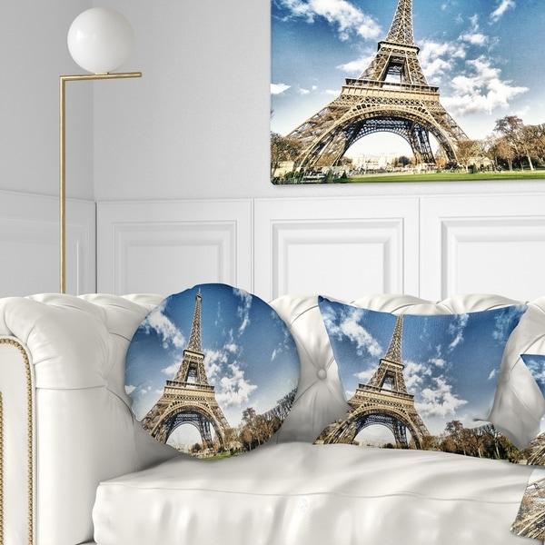 Designart 'Eiffel Under Dark Cloudy Sky' Landscape Photography Throw Pillow