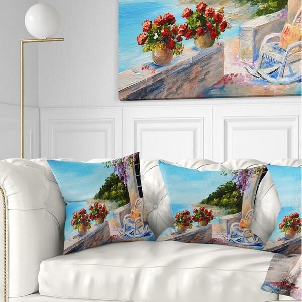 Designart 'Balcony Near the Sea' Landscape Painting Throw Pillow