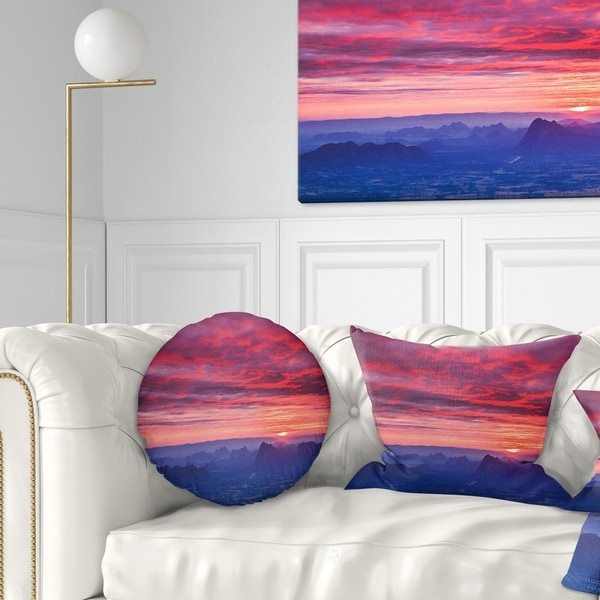 Designart 'Red and Blue Winter Mountains' Landscape Photography Throw Pillow