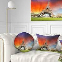 Designart 'Paris Eiffel TowerUnder Colorful Sky' Landscape Photo Throw Pillow
