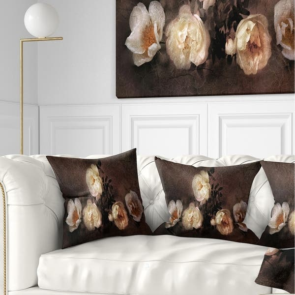 Designart Wild Roses In Old Painting Style Floral Throw Pillow On Sale Overstock 20946299