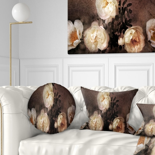 Designart 'Wild Roses in Old Painting Style' Floral Throw Pillow