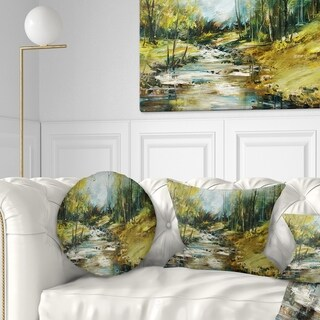 Design Artdesignart Creek In The Forest Oil Painting Landscape Painting Throw Pillow Round 20 Inches Round Large Dailymail