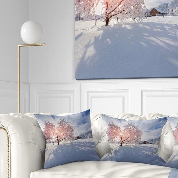 Designart 'Winter in Carpathian Village' Landscape Photo Throw Pillow