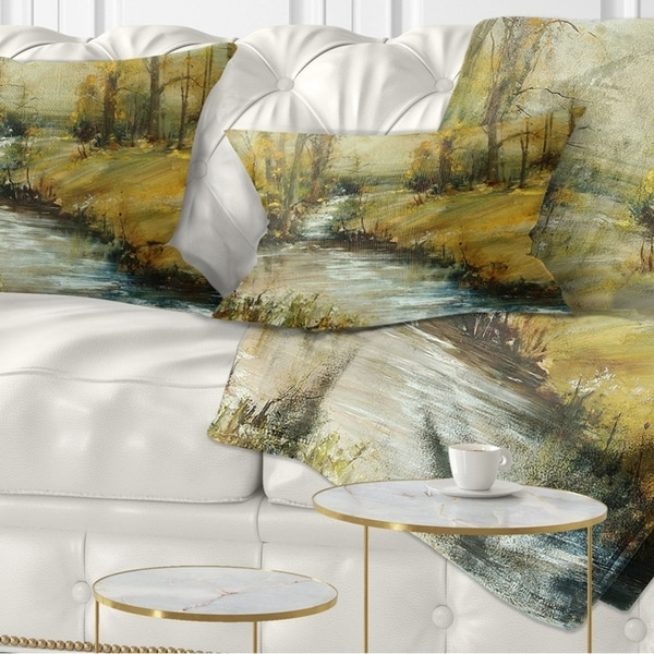 Designart 'Brook in Autumn Oil Painting' Landscape Painting Throw Pillow
