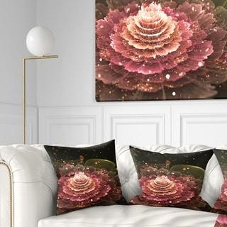 Designart 'Fractal Abstract Pink Flower' Floral Throw Pillow