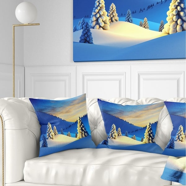 Designart 'Winter Mountains with Fir Trees' Landscape Photography Throw Pillow