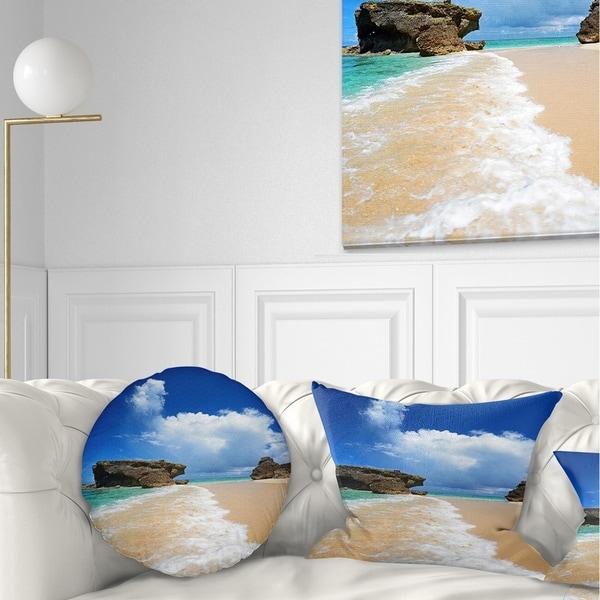 Designart 'Emerald Green of Okinawa' Beach Photography Throw Pillow