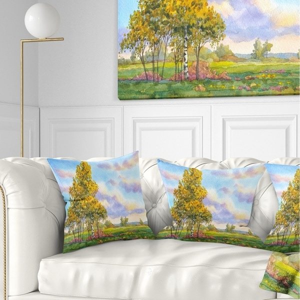 Designart 'Green Trees in Evening' Landscape Photography Throw Pillow