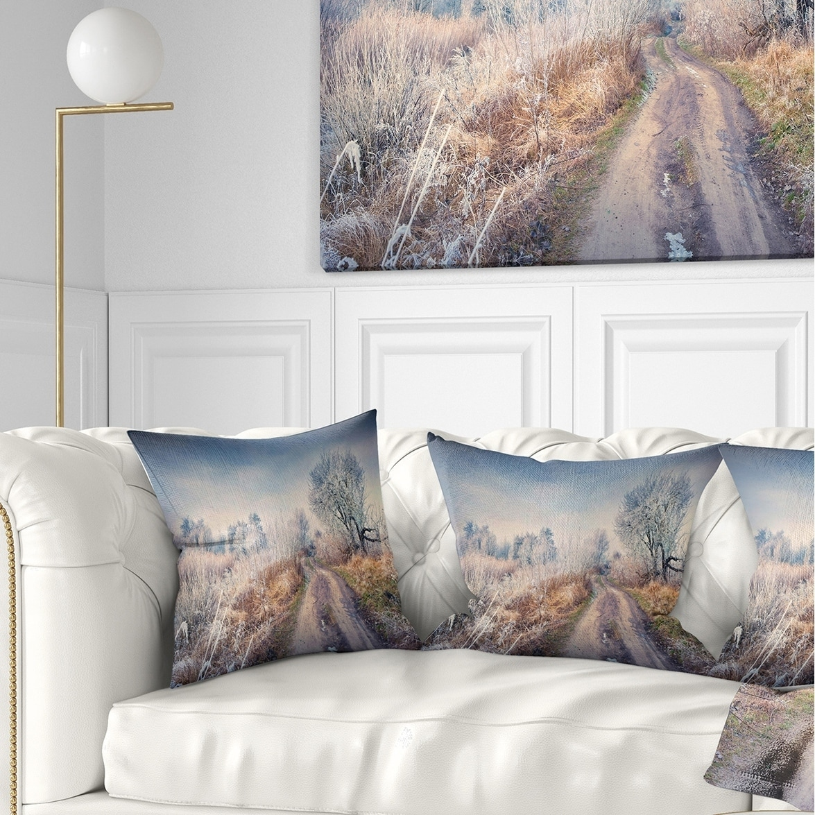 x 20 in in Designart CU9058-12-20 First Frost in Forest Landscape Photography Lumbar Cushion Cover for Living Room Sofa Throw Pillow 12 in