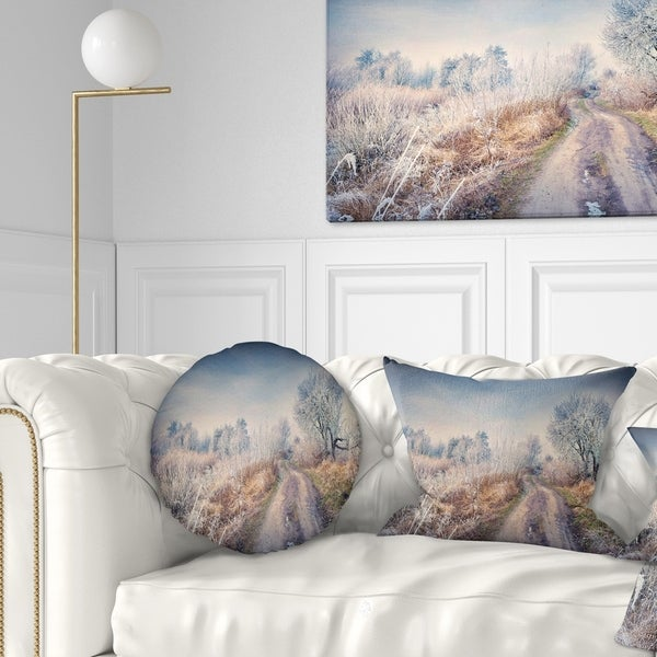 Designart 'First Frost in Forest' Landscape Photography Throw Pillow