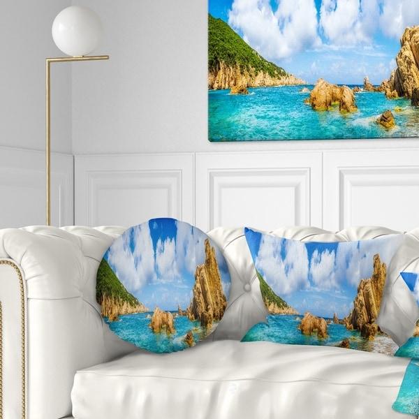 Designart 'Costa Paradise Panorama' Seashore Photo Throw Pillow