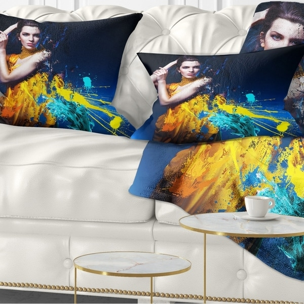 Designart 'Sexy Woman in Long Yellow Robes' Portrait Throw Pillow