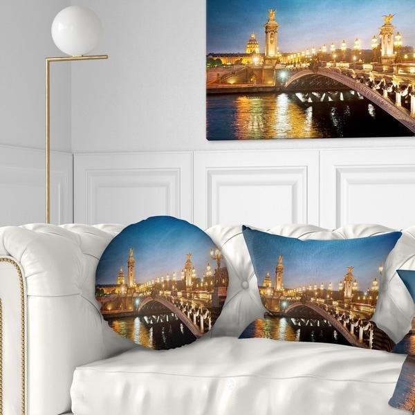Designart 'Pont Alexandre III Bridge' Cityscape Photo Throw Pillow