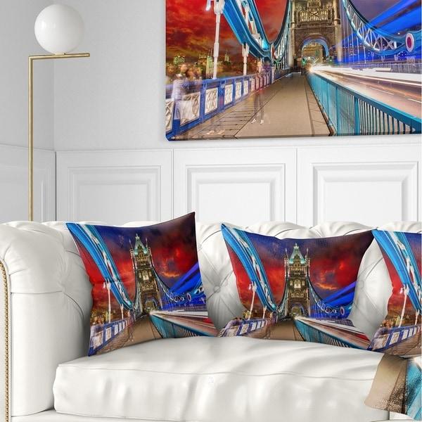 Designart 'Storm Over Tower Bridge at Night' Cityscape Photo Throw Pillow