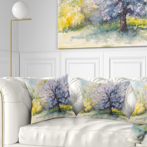 Designart 'Blooming Cherry Tree' Watercolor Floral Throw Pillow