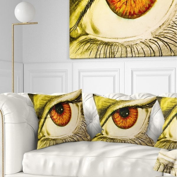 Designart 'Eye with Orange Pupil' Contemporary Painting Throw Pillow