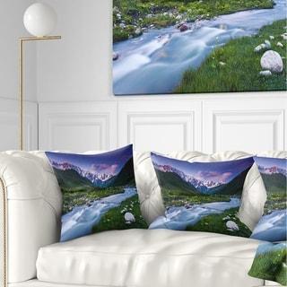 Designart 'River in Caucasus Mountains' Landscape Photo Throw Pillow