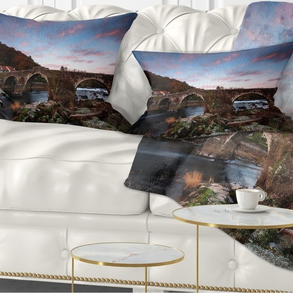 Designart 'Old Roman Bridge in Spain' Landscape Photo Throw Pillow