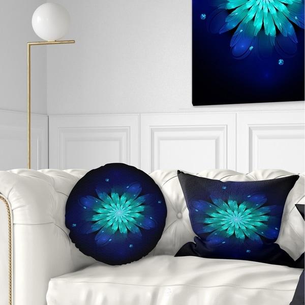 Designart 'Fractal Flower Blue N Turquoise' Floral Throw Pillow