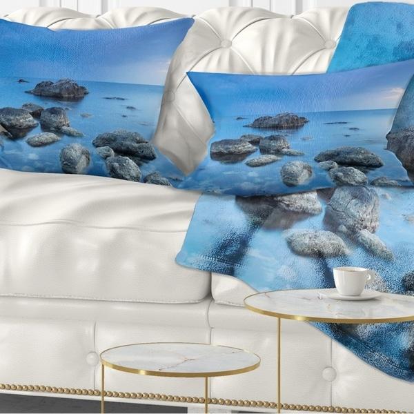Designart 'Rocky Blue Sea' Seascape Photography Throw Pillow