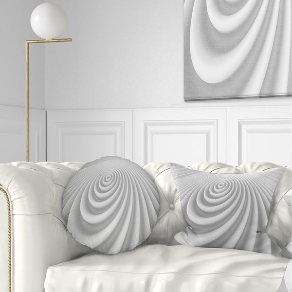 Designart 'Fractal Rounded White 3D Waves' Contemporary Throw Pillow