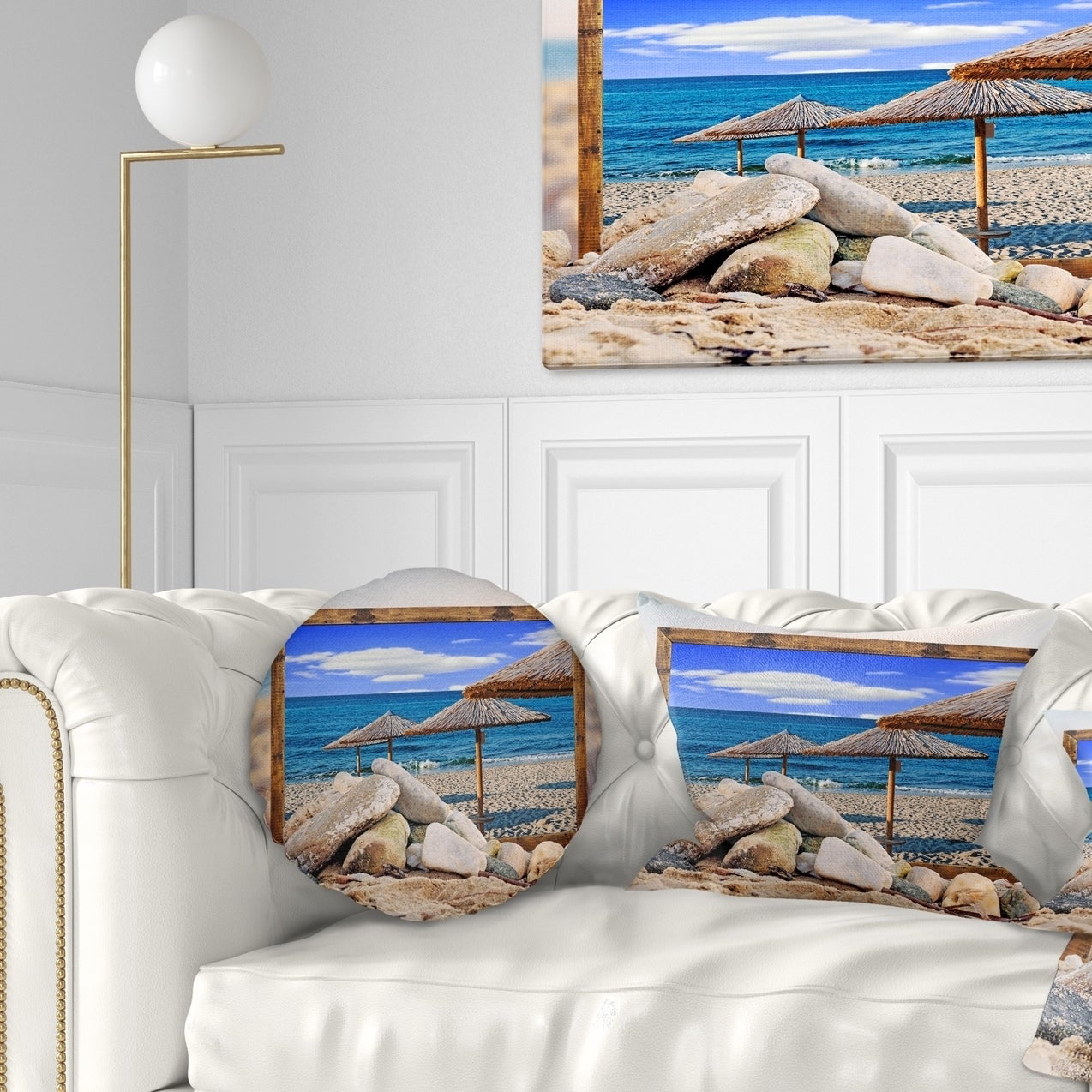 Insert Printed On Both Side Designart Cu9471 18 18 Framed Effect Beach Umbrellas Seashore Cushion Cover For Living Room Sofa Throw Pillow 18 In In X 18 In Throw Pillow Covers