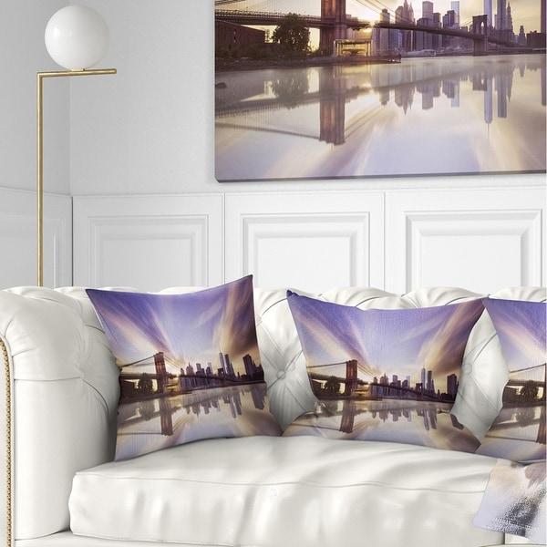 Designart 'Purple Sky Over Brooklyn Bridge' Cityscape Photo Throw Pillow