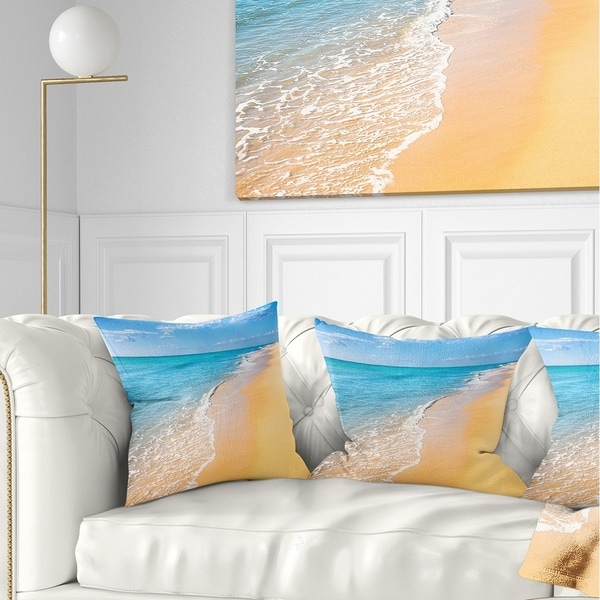 Designart 'Tropical Blue Sea and Sky' Seashore Photo Throw Pillow