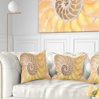 Designart 'Golden Nautilus Shell Pattern' Contemporary Throw Pillow