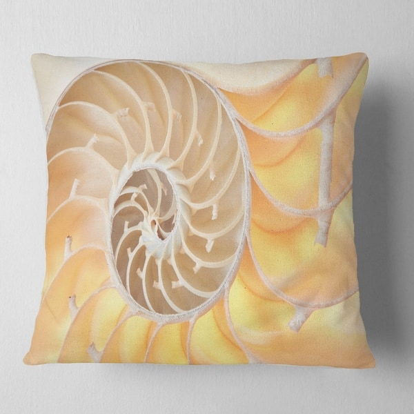 Designart Golden Nautilus Shell Pattern Contemporary Throw Pillow On Sale Overstock 20946684