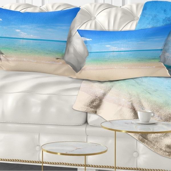 Designart 'Calm Waves at Tropical Beach' Seashore Photo Throw Pillow