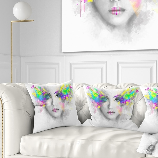 Designart 'Gray Woman with Green Flowers' Abstract Portrait Throw Pillow