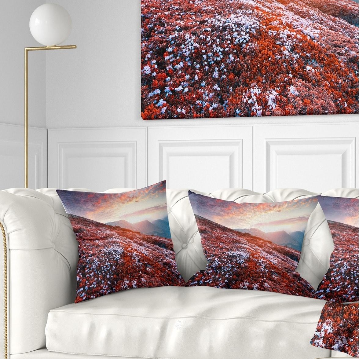 Designart Blooming Fields In Carpathian Landscape Photo Throw Pillow On Sale Overstock 20946733