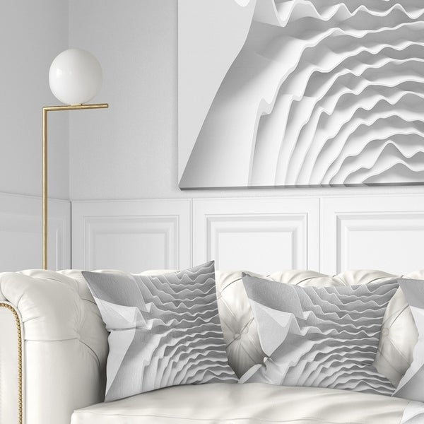 Designart 'Fractal Curved White 3D Waves' Contemporary Throw Pillow